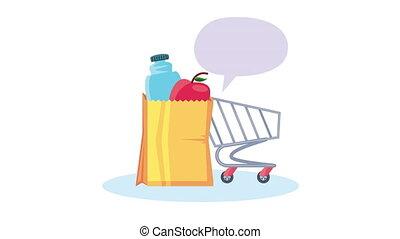 épicerie, sac, chariot