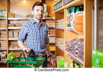 épicerie, sain, quelques-uns, magasin nourriture, achat, homme