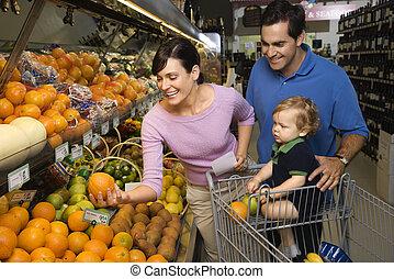 épicerie, shopping., famille