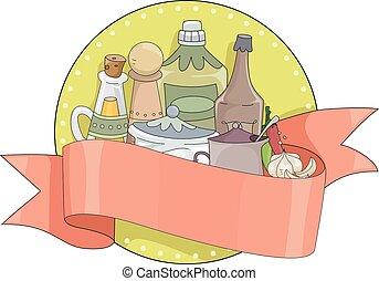 épices, bannière, condiments, illustration