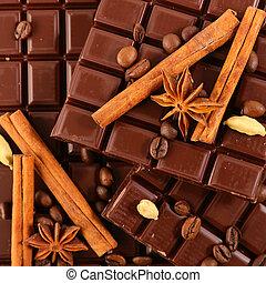 épices, barre, chocolat