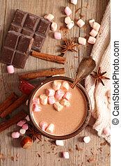 épices, chocolat chaud, guimauve