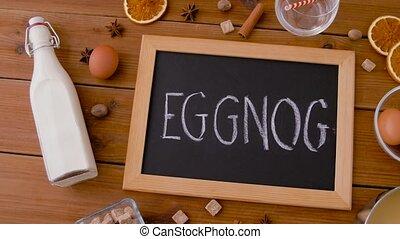 épices, eggnog, ingrédients, mot, tableau