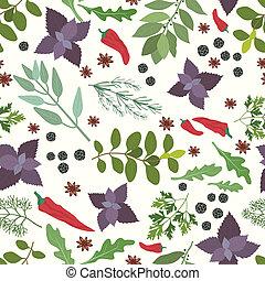 épices, modèle, herbes fraîches, seamless