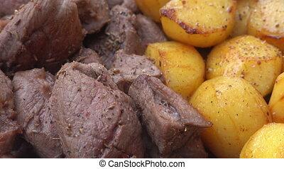 épices, pommes terre, délicieux, viande
