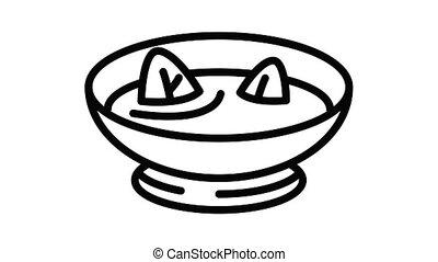 épinards, animation, icône, soupe