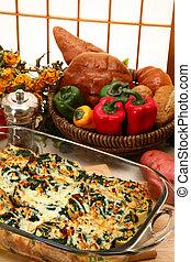 épinards, feta, strates, cuire