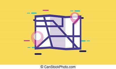 épingle, carte, papier, emplacement