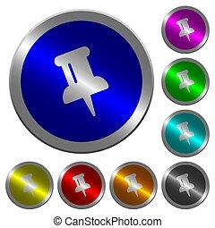 épingle, couleur, boutons, poussée, coin-like, lumineux,...