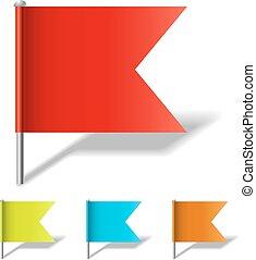 épingle, couleur, isolé, arrière-plan., drapeau, vecteur, gabarit, blanc