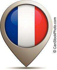épingle, directement, drapeau français, vecteur, illustration, emplacement