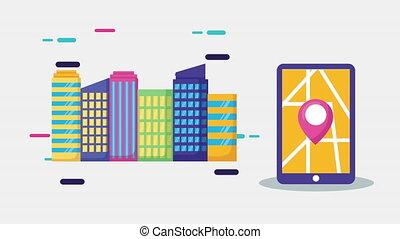 épingle, emplacement, app, smartphone