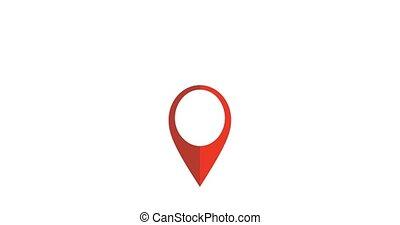 épingle, emplacement, icon., 4k, map., mouvement, vidéo, projection, gps