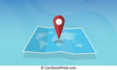 épingle, emplacement, planète, papier, carte, mondiale