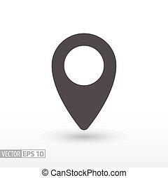 épingle, emplacement, -, plat, icône
