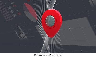 épingle, informatique, statistiques, animation, emplacement, rouges