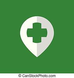 épingle, monde médical, croix, vecteur, emplacement, logo, icône