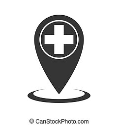 épingle, monde médical, emplacement, -, isolé, vector., icône