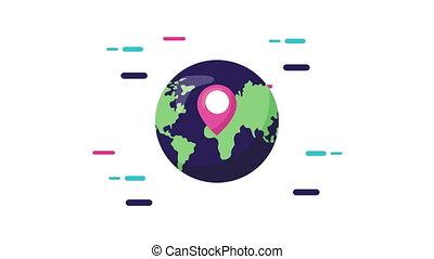 épingle, mondiale, emplacement, planète
