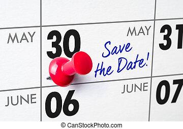 épingle, mur, 30, -, mai, calendrier, rouges