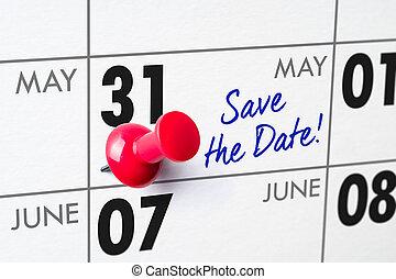 épingle, mur, 31, -, mai, calendrier, rouges