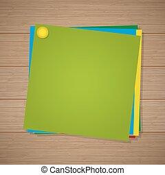 épingle, papier, fond, bois, attaché, coloré, notes