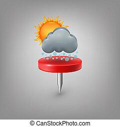épingle, soleil, neige, rouges, weather., nuage, icône