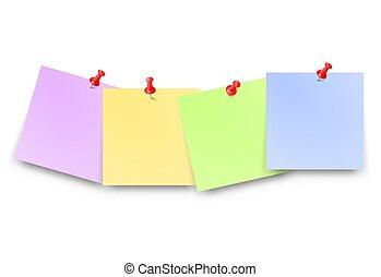 épingle, vide, papiers, ensemble, rouges, endroit, texte, poste