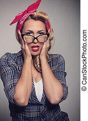 épinglez, blond, girl, retro style, à, lunettes soleil
