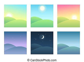 épocas, paisaje, diferente, día