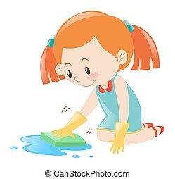 éponge, peu, nettoyage, girl, plancher
