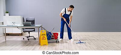 éponger, plancher, prudence, ouvrier, signe, mouillé