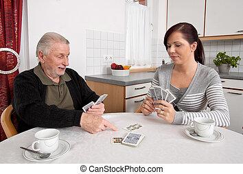 épouse, gens, temps libre, cartes, jouer