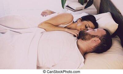 épouse, haut, matin, sillage, chambre à coucher, mari