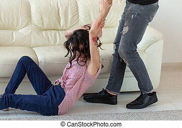 épouse, homme, conjugal, saisir, concept, agressif, -, sien, violence, alcoolique, abus, mensonge, plancher