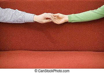 épouse, mari, tenant mains
