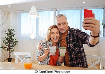 épouse, photo, téléphone, quoique, mari, tenue, confection, rouges