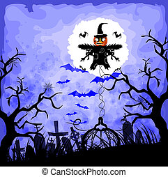 épouvantail, halloween, fond