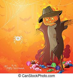 épouvantail, vecteur, halloween, fond