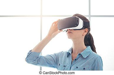 éprouver, femme, jeune, réalité virtuelle