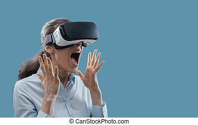 éprouver, femme, réalité virtuelle