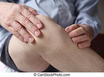 éprouver, homme, genou endolori
