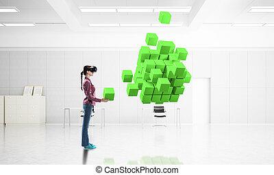 éprouver, masque, virtuel, wor, girl, réalité, technologie