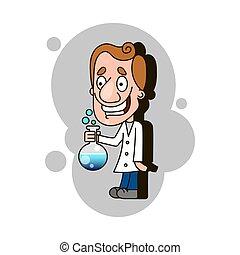 éprouvette, scientifique, tenue, gosse