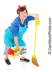 épuisé, dame, -, nettoyage