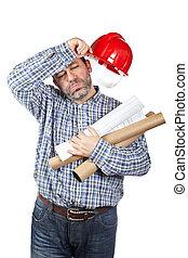 épuisé, ouvrier construction