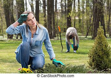épuiser, travail, dans, jardin