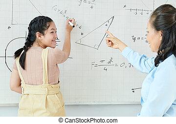 équation, écriture, whiteboard, écolière