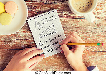 équation mathématique, haut, écriture, mains, fin