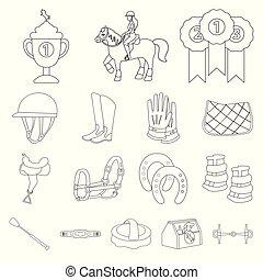 équestre, cheval, ensemble, illustration, icône, vecteur, ...